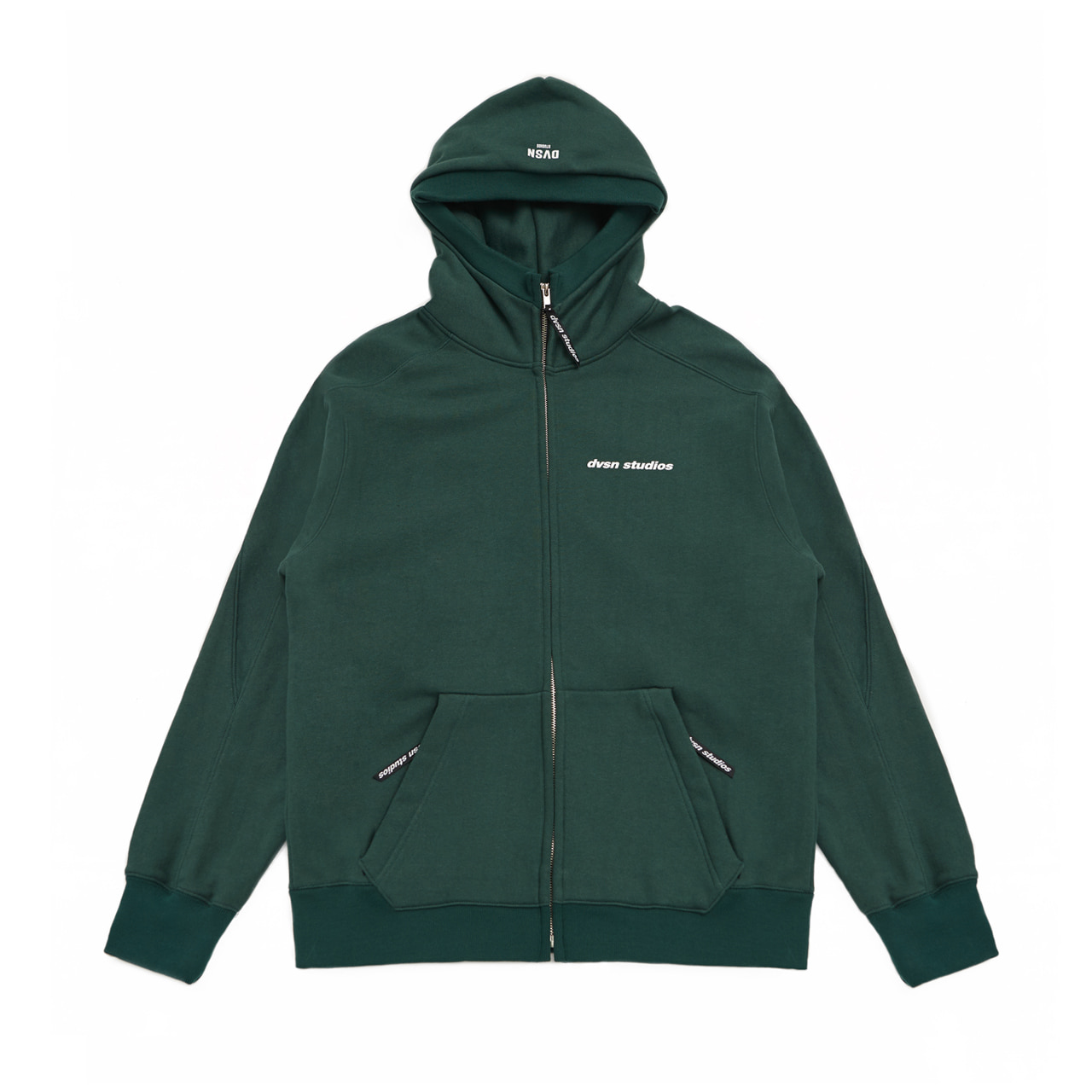 DVSN STUDIOS zip neck hood _ dark green